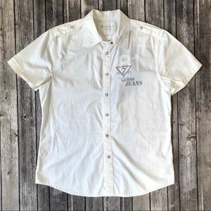 Guess Men's White Slim Fit Short Sleeve Button Top